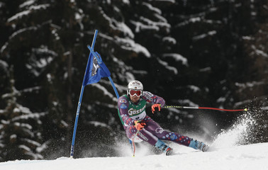 Buechel of Liechtenstein skis on the Streif piste during the men's Alpine Skiing World Cup super-G in Kitzbuehel