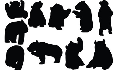 Giant panda Silhouette vector illustration