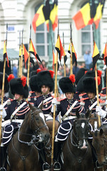 BELGIAN ROYAL HORSE GUARDS MARCH PAST DURING THE MILITARY PARADE IN BRUSSELS.