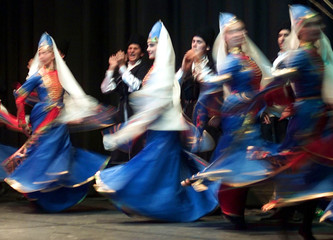 DANCERS FROM NEW JERSY BASED NARTEEN GROUP PERFORM A CIRCASSIAN.