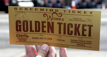 "Golden ticket at the Los Angeles premiere of the family comedy film ""Charlie and the Chocolate Factory""."