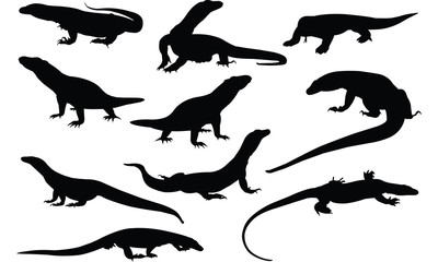 Komodo dragon Silhouette vector illustration