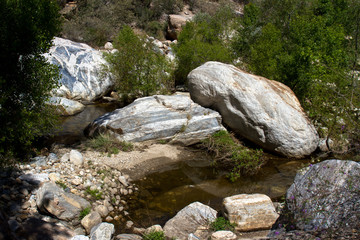 Colorful rocks along Sabino Creek in Sabino Canyon, near Tucson, Arizona
