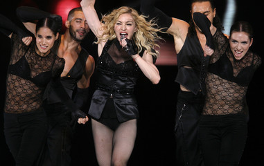 U.S. pop singer Madonna performs during her Sticky and Sweet Tour concert
