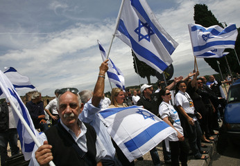 Members of the Jewish community of Rome protest against the presence of Iran's President Mahmoud Ahmadinejad at the U.N. Food and Agriculture Organisation summit in Rome