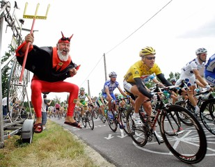 CSC team rider Zabriskie of the US cycles past during the third stage of the 92nd Tour de France ...
