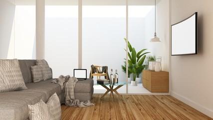 The interior living space decoration in condominium - 3d rendering