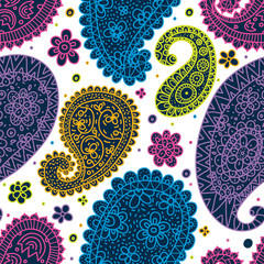 Retro motif with paisley. Vector seamless pattern.