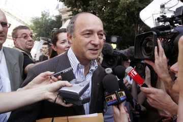 Socialist former French Prime Minister Laurent Fabius arrives to attend the Socialist Party National..