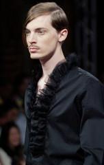 A model presents a creation by French designer Jose Levy for Emmanuel Ungaro men's spring/summer 200..