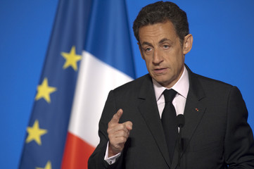 France's President Sarkozy speaks at a ceremony to mark the 90th anniversary of the International Federation of Red Cross and Red Crescent Societies