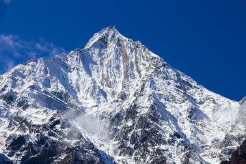 Majestic mountain peaks in Himalayas mountains in Nepal