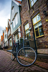 Bicycle next to house in the Netherlands