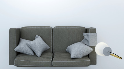 Wall Mural - Sofa top plan white background - 3d rendering