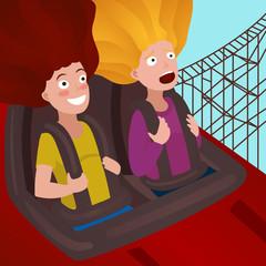 Girls on a roller coaster cartoon vector