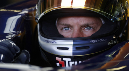 Red Bull Formula One driver Sebastian Vettel of Germany sits in his car at the Hungaroring circuit near Budapest