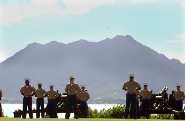 Battle of Iwo Jima celebrated on the day the island was declared secure at Pacific War Memorial in Hawaii.