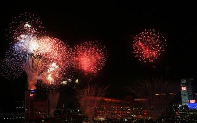 Fireworks explode over the National Stadium in Beijing