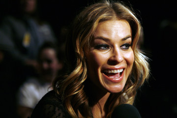 Actress Carmen Electra talks to interviewers before the Anna Sui fall collections 2007 during New York Fashion Week