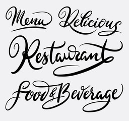 Restaurant food and beverage hand written typography. Good use for logotype, symbol, cover label, product, brand, poster title or any graphic design you want. Easy to use or change color