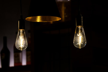 decorative antique light bulbs and modern light lamp in the restaurant