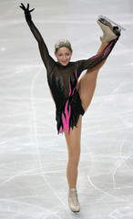 Latvia's Teplih performs during the women's Short Programme of the European Figure Skating Championships in Warsaw