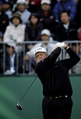 Colin Montgomerie tees off on first hole to begin his third round of the Dunlop Phoenix golf tournament in Miyazaki Japan