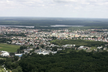 An aerial view of the city of Augustow near the Rospuda nature reserve near Augustow northern-eastern Poland