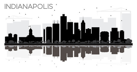Indianapolis City skyline black and white silhouette with reflections.