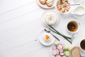 Healthy breakfast with toast , cheese, text space, topview