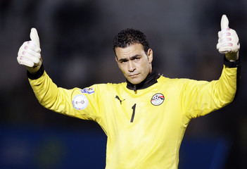 Egyptian goalkeeper Essam El Hadary reacts during a training session in Khartoum