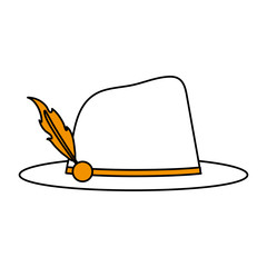 color silhouette image explorer hat with feather