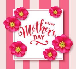 Mother's day card with pink peony. Happy mother's day lettering. Vector illustration. Holiday template with flowers