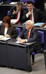 Steinmeier of the SPD party attends Bundestag session in Berlin