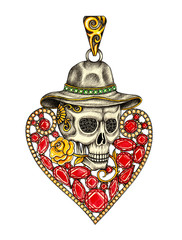 Art heart mix skull pendant jewelry. Hand drawing and painting on paper.