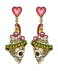 Art skull earrings jewelry. Hand drawing and painting on paper.