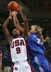 Leslie of the US and Samourokova of Greece battle for ball during womens Olympic quarter-final ...