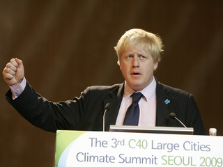 Mayor of London Johnson delivers a speech during plenary session at the 3rd C40 Large Cities Climate Summit Seoul 2009 in Seoul