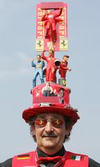 Ferrari fan wears a self-made Ferrari hat at the European Formula One Grand Prix at the Nuerburgring