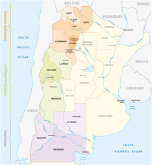 Map of the most important wine-growing areas in Argentina
