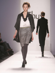 A model walks the runway during the Thuy collection show at Fashion Week in New York