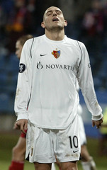 Basel's Mladen Petric reacts during UEFA Cup soccer match against Wisla Krakow in Krakow