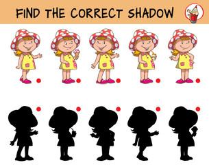 Funny little girl in a hat. Find the correct shadow. Educational game for children. Cartoon vector illustration