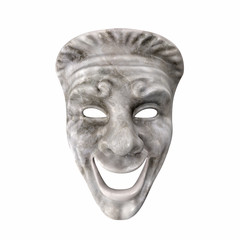 Theatre Comedy Mask White Marble on white. 3D illustration