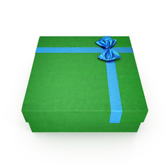 Green gift-box with blue ribbon bow isolated on white. 3D illustration