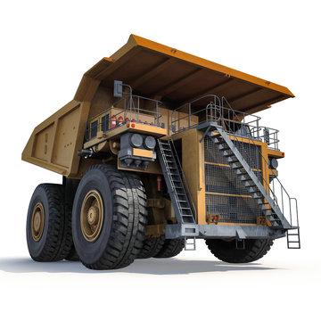 Heavy yellow mining truck on white. 3D illustration