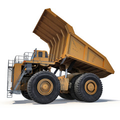 Very big dump-body truck on white. 3D illustration