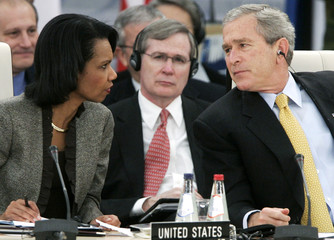 US President Bush attends NATO summit with Secretary of State Rice and National Security Advisor Hadley in Riga