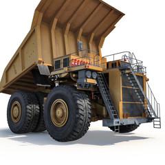 Very big yellow dump-body truck on white. 3D illustration