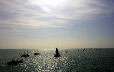 A flotilla of small ships sail from Dover harbour for Dunkirk June 2. The crossing of the English Ch..
